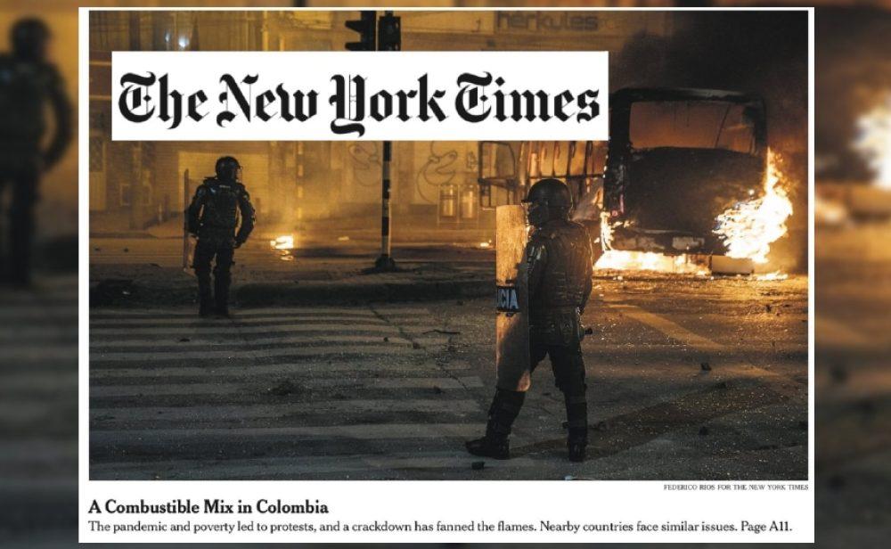 La portada de 'The New York Times' que denuncia los abusos policiales en Colombia y le da la vuelta al mundo