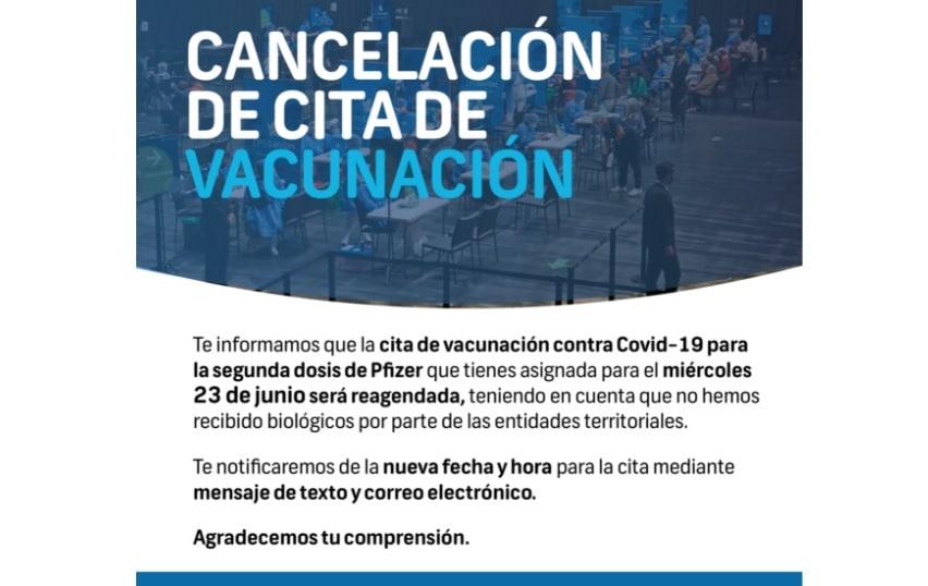 Cancelan citas de vacunación para segunda dosis de Pfizer