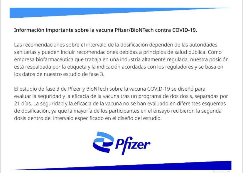 Comunicado de Pfizer sobre aplicación de la segunda dosis de su vacuna