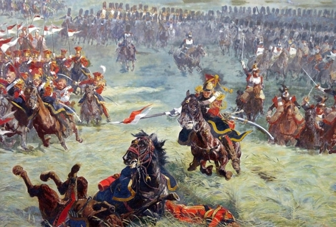 Cuadro de Louis Dumoulin sobre la batalla de Waterloo.