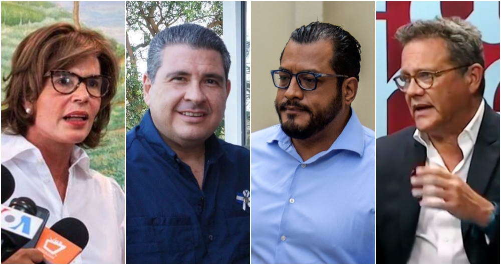 Cristiana Chamorro, Juan Sebastián Chamorro, Félix Maradiaga y Arturo Cruz. Foto: AFP