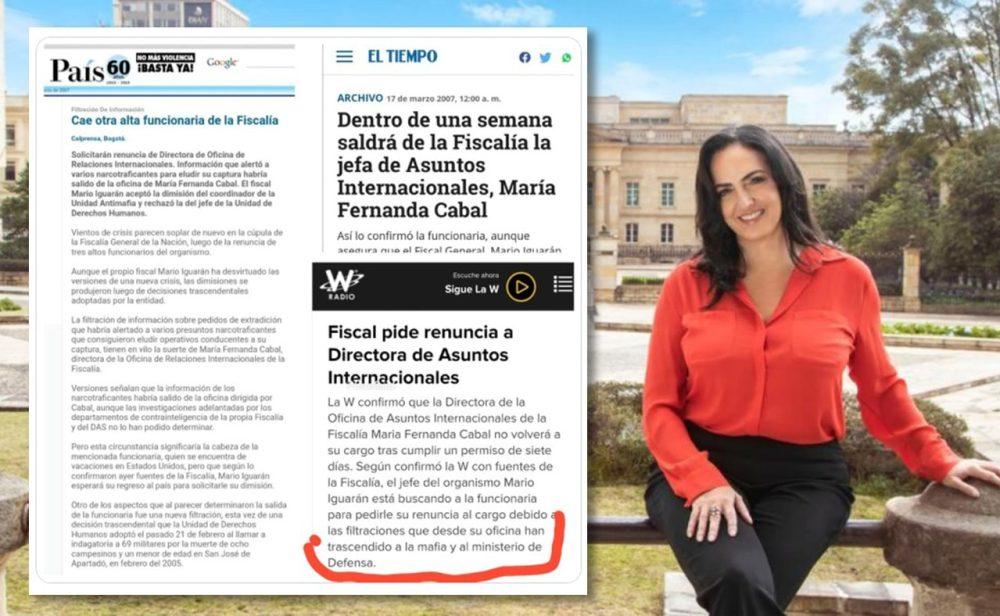 ¿María Fernanda Cabal filtró información a narcos cuando trabajó en la Fiscalía?