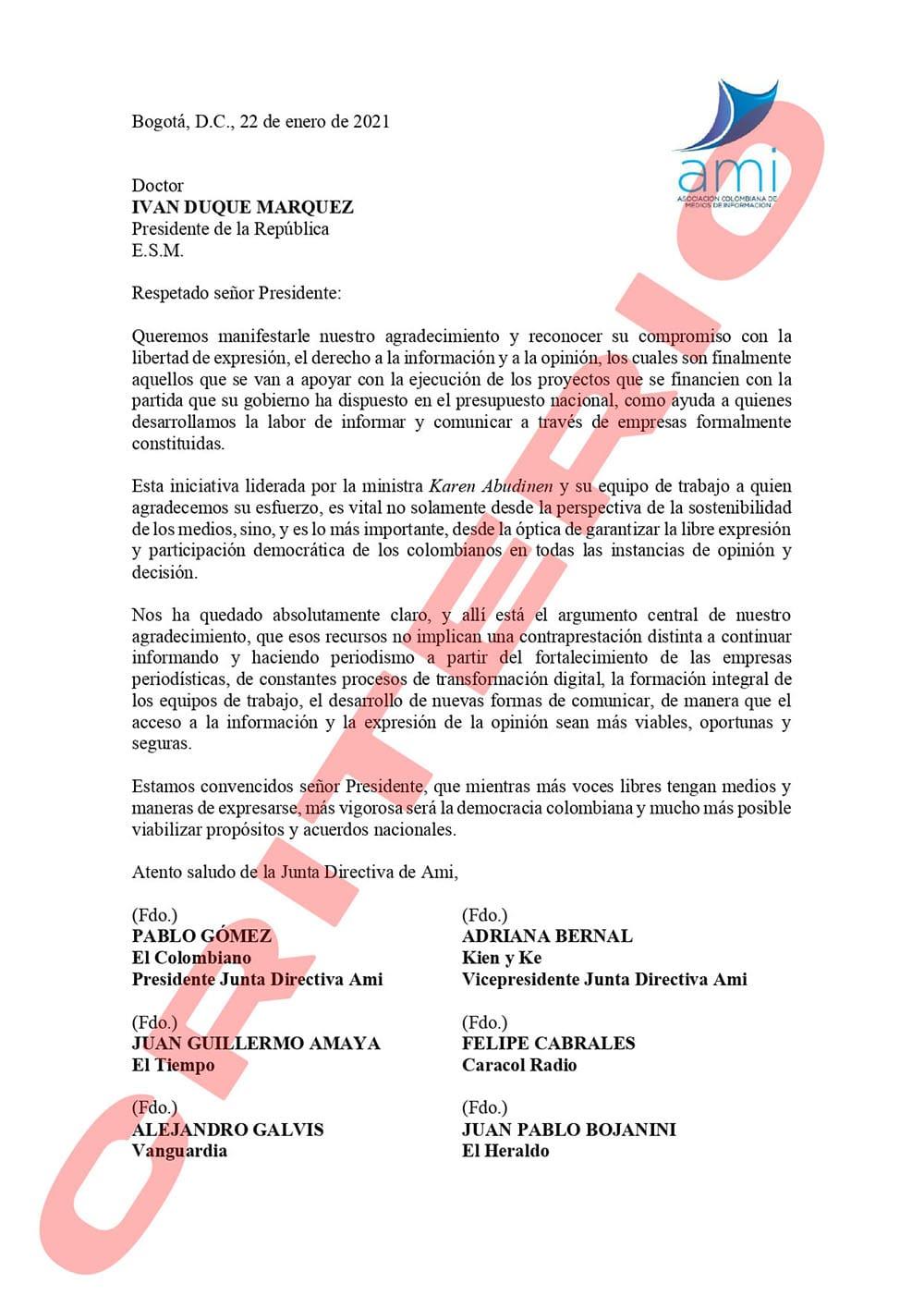 Carta de los grandes medios al presidente Iván Duque, 22 de enero de 2021