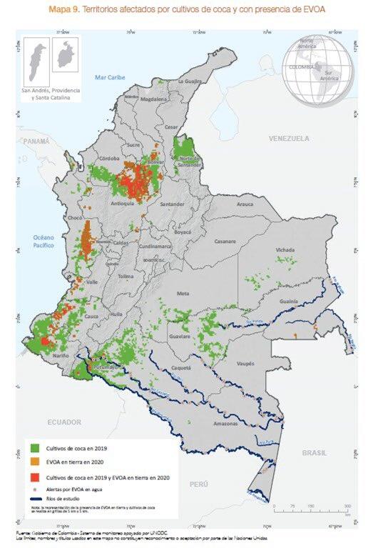 Territorios afectados por cultivos de coca y explotación de oro de aluvión - Mapa UNODC