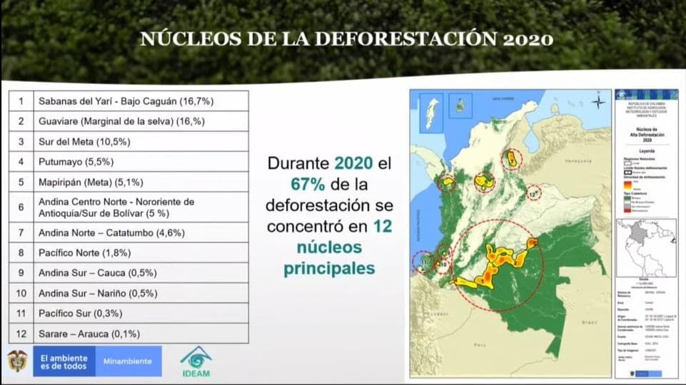 Núcleos regionales de deforestación en Colombia - Ministerio de Ambiente