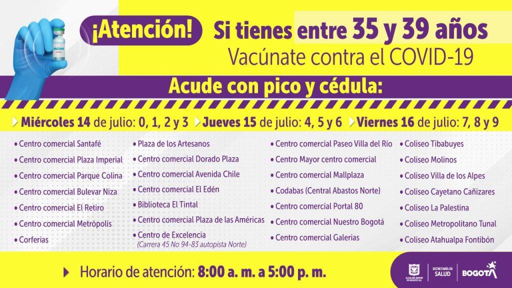 Así será la vacunación de la etapa cinco en Bogotá