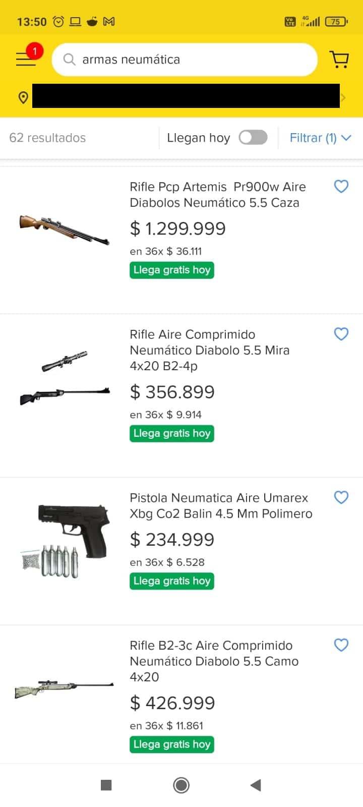 Armas neumáticas por Mercado Libre