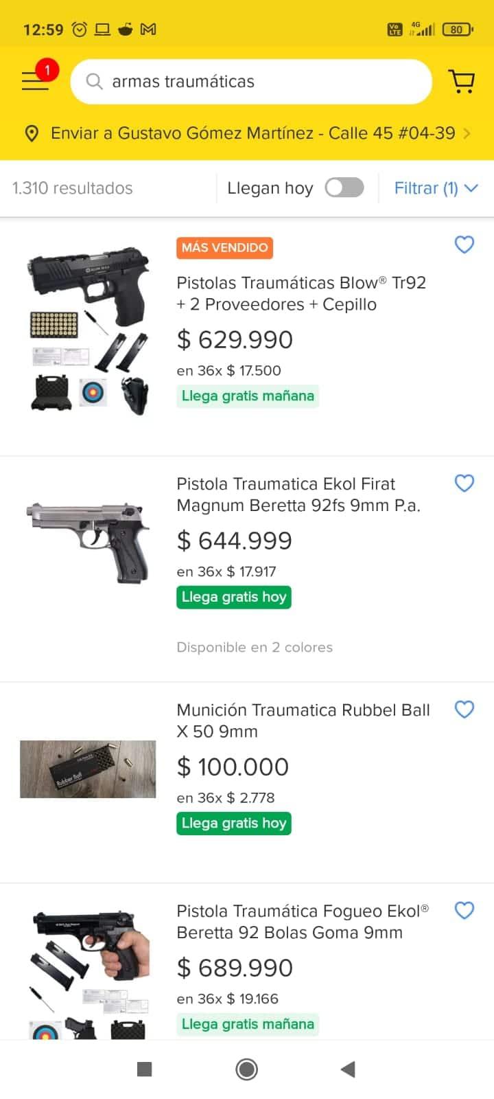 Armas traumáticas por Mercado Libre