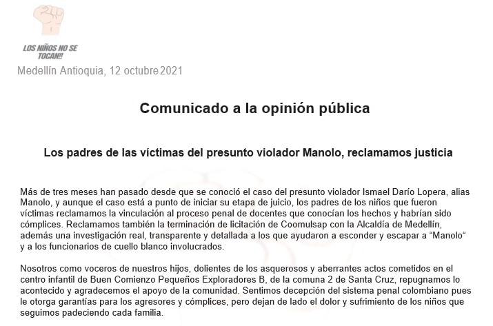 Carta de los padres de las presuntas víctimas de Alias Manolo