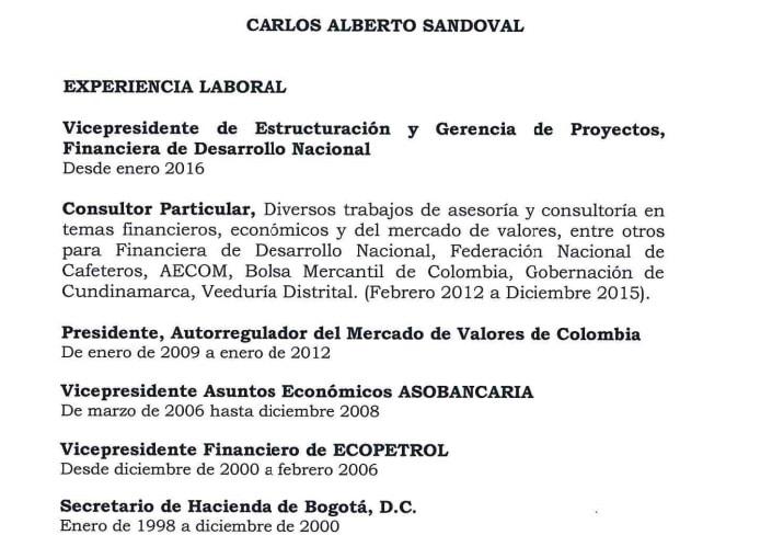Experiencia laboral de Carlos Alberto Sandoval