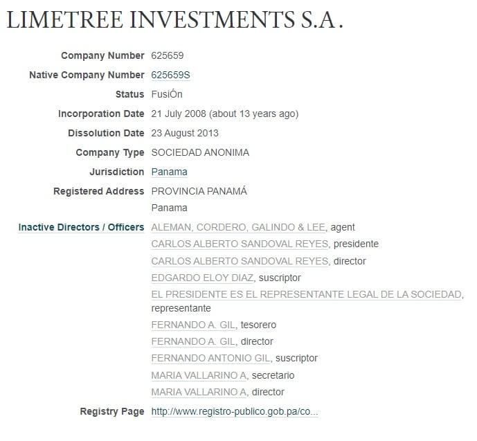 Limetree Investments, empresa de Enrique Peñalosa en Pandora Papers