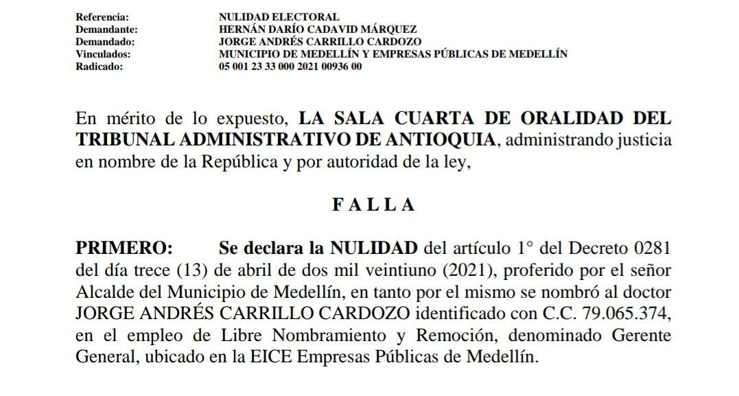 Tribunal tumba el nombramiento de Jorge Andrés Carrillo como gerente de EPM