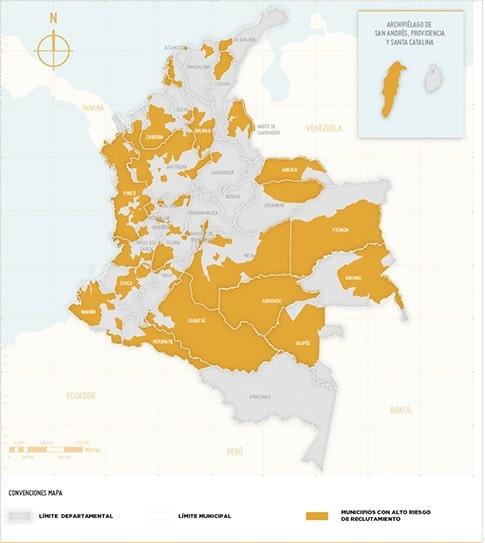 Zonas con más riesgo de reclutamiento forzado en Colombia - Ideas para la Paz